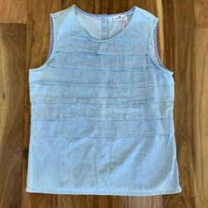 Vineyard Vines Chambray Pleated Tiered Tank Top